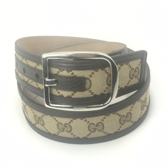 f49112f3d06 Gucci  449716 GG Canvas and Leather Belt